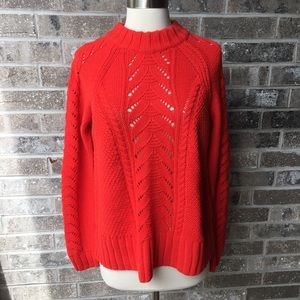 LOFT Cable Knit Sweater Mock Neck Crochet M NWT